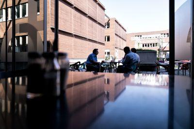 3 Männer sitzen zwischen Modernen Holzgebäuden auf der Terasse