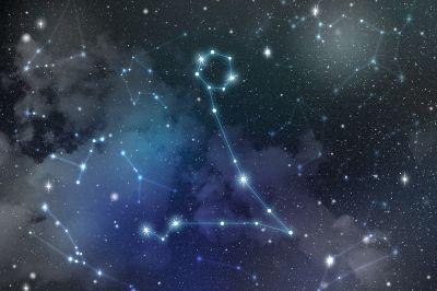 Sternbild des Zodiac am Nachthimmel mit Linien Verbunden