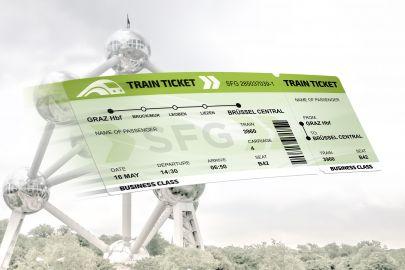 Bahnfahrkarte Graz-Brüssel, im Hintergrund das Atomium