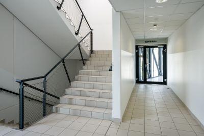 """Stiegenhaus in Bürogebäude, Tür mit Schild """"IZW-Brücke"""""""