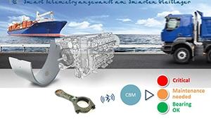Schematische, grafische Darstellung von Teilen eines Telemtrie-Systems vor einem großen Containerschiff und einem LKW