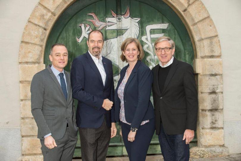 Gernot Pagger (GF IV Steiermark), Jürgen Roth (AR-Vorsitzender ICS), Barbara Eibinger-Miedl (Wirtschaftslandesrätin), Josef Herk (Präsident WK Steiermark)