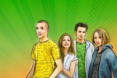 Vier Jugendliche vor grünem Hintergrund