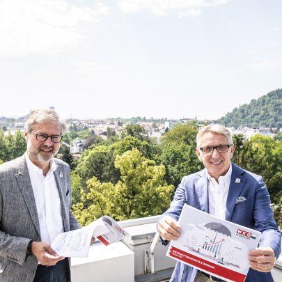 WKO Steiermark Präsident Josef Herk (r.) und Direktor Karl-Heinz Dernoscheg präsentieren das neue Wirtschaftsbarometer